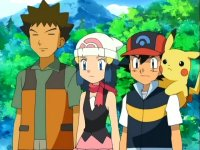 Ash, Pikachu, Dawn a Brock